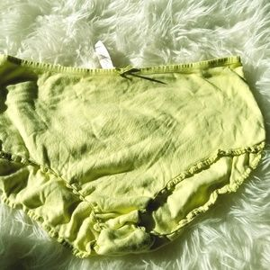 Victoria Secrets Green Stretchy Ruffle Panties